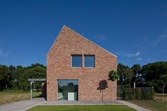 Modern gabled brick house in the Netherlands.
