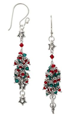 Earrings with Swarovski Crystal Beads and Sterling Silver Beads