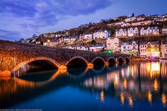 Blue Hour shot at the Bridge at Looe, Cornwall, England by Joe Daniel Price / Towns In Cornwall, Looe Cornwall, Devon And Cornwall, Cornwall England, England Uk, Great Places, Places To See, Beautiful Places, Places Around The World