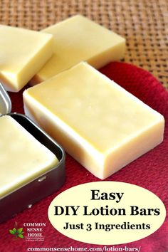 Lotion Bar Recipe - Easy to Make with Just 3 Ingredients! - Lotion Bar Recipe – Easy to Make with Just 3 Ingredients! Try these super easy hard lotion bars made with just 3 ingredients. Diy Lotion, Lotion Bars, Hand Lotion, Homemade Skin Care, Homemade Beauty Products, Homemade Soaps, Diy Soaps, Homemade Facials, Homemade Scrub