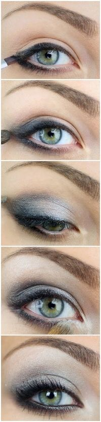 Silver eye makeup for prom
