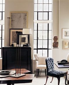 design by thomas o'brien: an equal balance of whites, blacks and browns