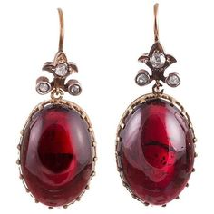 Preowned Victorian Cabochon Garnet & Rose Cut Diamond Earrings ($3,200) ❤ liked on Polyvore featuring jewelry, earrings, red, diamond jewelry, diamond earring jewelry, red jewelry, pre owned jewelry and cabochon jewelry