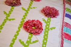 Twin Size RAG QUILT Ruffled Flower Custom You by avisiontoremember, $300.00