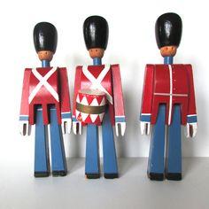 THREE Kay Bojesen Vintage Wooden Soldiers Danish at NeatoKeen