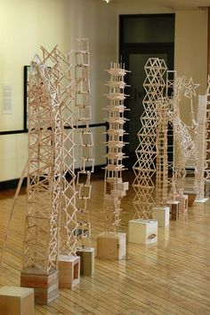 Popsicle Stick Architecture is part of School art projects - The popsicle stick creations of NDSU architecture students scrape the sky in the Museum atrium On display April 7 12 Sculpture Lessons, Sculpture Projects, Stem Projects, Teen Art Projects, Stem Challenges, Engineering Challenges, Collaborative Art, Popsicle Sticks, Popsicle Stick Bridges