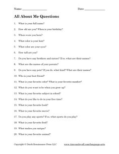 all about me questions - Google Search