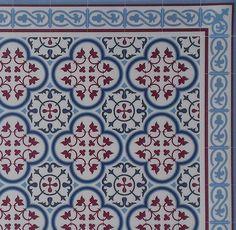 Tiles Pattern Decorative PVC vinyl mat - Color Bordeaux And Blue 177 PVC Rug, Kitchen Mat by videcor on Etsy