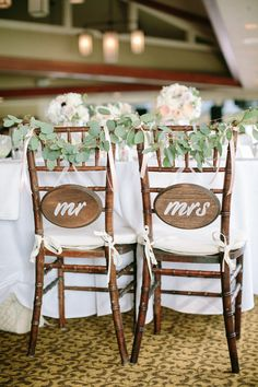 We're sure you've noticed, but wedding reception chair signs are kind of a thing right now. Wedding Gifts For Newlyweds, Bride And Groom Gifts, Mod Wedding, Wedding Signs, Wedding Ideas, Wedding Dinner, Wedding Details, Dream Wedding, Wedding Inspiration