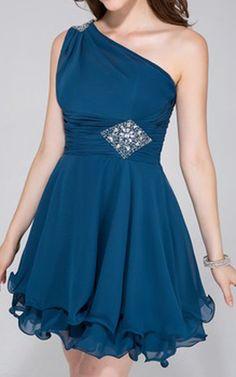 Ink Blue A Line Princess One Shoulder Short Mini Chiffon Homecoming Dress Ruffle…