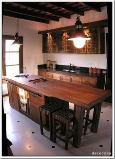 Cocina Rústica Madera Café Oscuro