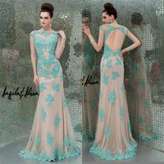 2014 Prom Dresses Sheer Bead Appliques Short Sleeve Backless Formal Evening Gown