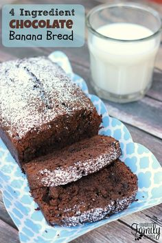This chocolate banana bread recipe is SO tasty, SO moist, and SO easy. It only has four ingredients and one of them is a brownie mix!