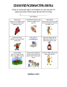 This is a fun homework menu that gives students different ways to practice their…