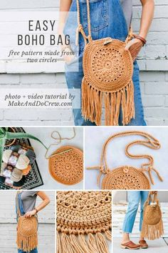 Learn how to make a stylish, fringed crochet boho purse from two simple circles in this free pattern + video tutorial. Bohemian style is so on-trend and this hippie bag looks far from DIY-ed. Perfect size for festivals or date nights. #crochet #freepattern #boho #videotutorial #fringe #hippie #purse #bag via @makeanddocrew