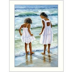Two Girls at the Beach by Georgia Janisse Framed Painting Print