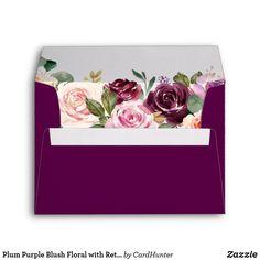 Plum Purple Blush Floral with Return Address 5x7 Envelope 5x7 Envelopes, Custom Printed Envelopes, Wedding Envelopes, Wedding Invitations, Purple Blush, Wedding Address Labels, Floral Invitation, Invite, Invitation Suite