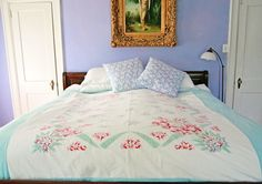 DIY Upcycled Vintage Tablecloth Duvet Cover - My So Called Crafty Life My Little Pony Bedding, Table Cloth, Duvet, Contemporary Bed, Vintage Tablecloths, Bedroom Bliss, Duvet Covers, Duvet Cover Diy, Vintage Sheets