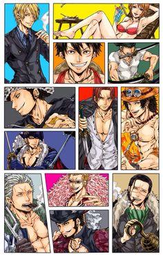 One piece Sanji Luffy Nami Law Shanks Ace Drake Smoker Doflamingo Croodile Mihawk Suits Show, Zoro Nami, One Piece Nami, The Pirate King, Happy Fun, Manga Games, Manga Art, Crocodile, My Idol