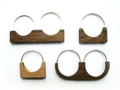 wood rings with silver band and detailing