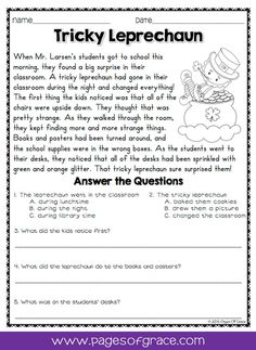 Reading comprehension daily passages. If you are looking for fun activities to help your students with reading comprehension strategies, check out this packet of daily passages for the month of March and St. Patrick's Day! Each worksheet has a short story with an illustration and 5 comprehension questions. Great for advanced 1st grade, 2nd grade, and 3rd grade extra practice. Kids enjoy reading these fun stories while improving their skills.