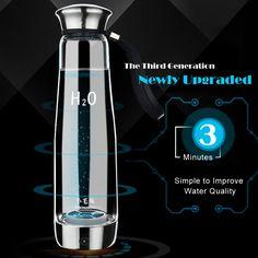 500ML Smart Touch Hydrogen Generator Ionizer Water Bottle Healthy Hydrogen Rich Glass Water Bottle Cup USB Rechargeable BPA-free