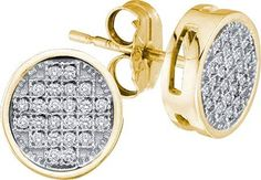 Diamond Earring 0.05ctw Diamond Micro-pave Earring 10kt Yellow Gold Screw Back