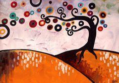 Original Swirly Jeweled TREE landscape Print by Natasha Wescoat Gold White Coast Cement Design, Painting Lessons, Art Plastique, Tree Art, Tree Of Life, Artsy, Landscape, Drawings, Handmade Gifts