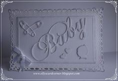 Elly's Card Corner: Very simple and elegant white monochromatic baby card!  Love the diaper pins!