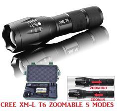 flashlight Set, Sandistore G700 X800 LED Flashlight Tactical XML-T6 Zoomable Torch Lamp 18650 AAA (Black) * Click on the image for additional details.