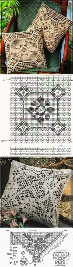 31 Ideas crochet pillow cover lace for 2019 Filet Crochet, Crochet Diagram, Crochet Chart, Crochet Motif, Crochet Designs, Crochet Doilies, Crochet Stitches, Crochet Patterns, Crochet Cushion Cover