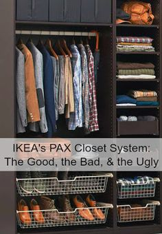 Ikea Pax storage systems (need to read in full) ; Driven By Décor: IKEA's PAX Closet System: The Good, the Bad, & the Ugly Ikea Pax Closet, Ikea Pax Wardrobe, Closet Hacks, Closet Organization, Closet Ideas, Closet Redo, Armoire, Closet System, Pax System