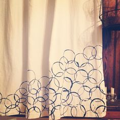 Hand stamped curtains ... Going to try making these!
