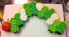 Little Miss's 1st Birthday Cake-- Hungry Caterpillar Cupcake Cake!