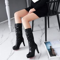 Women Slouch Boots Block High Heel Fashion Autumn Winter Platform Shoes Pull on - Fall Boots - Ideas of Fall Boots - Women Slouch Boots Block High Heel Fashion Autumn Winter Platform Shoes Pull on Price : Super High Heels, Motorcycle Boots, Boots For Sale, Mid Calf Boots, Winter Wardrobe, Platform Shoes, White Women, Pink White, Autumn Fashion