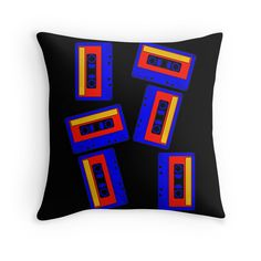 """CASSETTE TAPE-3"" Throw Pillows by IMPACTEES 