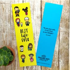 """Best Life Ever Bookmark Comes with a variety of our most popular characters. The back is blue and it reads """"To do your will, O my God, is my delight."""" - Ps 40:8 jw gifts - jw ministry - jw pioneer gifts - best life ever - jw pioneer - jw org - escuela de precursores - regalos The Best Life"""