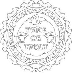 Trick of Treat mandala style round #Halloween #coloring design, embroidery pattern, paper craft/die cut #Silhouette Cameo shape.