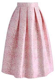 Glossy Rose Jacquard Midi Skirt in Pink - New Arrivals - Retro, Indie and Unique…