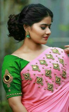 Looking for designer blouse images? Hear are latest trendy blouse models that you can wear with any saree of your choice. Blouse Back Neck Designs, Fancy Blouse Designs, Mirror Work Blouse Design, Mirror Work Saree Blouse, Kerala Saree Blouse Designs, Designer Blouse Patterns, Blouses, Saree Jewellery, Gold Jewellery