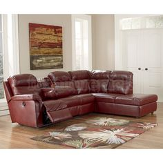 Primematic DuraBlend Crimson Right Chaise Sectional w/ Power