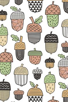 Geometrical Acorns Fall Autumn on White by caja_design - Geometric acorns in fall tones on fabric, wallpaper, and gift wrap.  Hand illustrated acorns with stripes, lines, and geometric shapes.