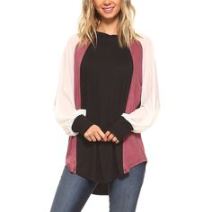 TEN 6 TEN Black & Ginger Color Block Chiffon Contrast Tunic ($27) ❤ liked on Polyvore featuring tops, tunics, chiffon tops, colorblock tunic, color block tunic, block top and chiffon sleeve top