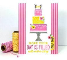 Big Birthday Sentiments stamp set and Lisa Johnson Designs Celebrate with Cake…