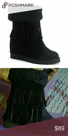 🔶 Black Leather Fringe Madden Girl Boots Size 8m 🔶 Black Leather Fringe Madden Girl Boots Size 8m Stored in great condition in original box. Solid black, pictures do not give them justice! Size 8M. Madden Girl Shoes Ankle Boots & Booties