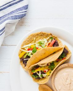 Refried Bean Tacos with Chipotle Cashew Cream #tacotuesday #vegetarianmeal #healthyeating