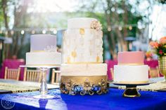 Creative gold wedding cake, purple wedding cake, pink wedding cake... by Declare Cakes in Charleston // Photo by South Carolina Wedding Photographers Aaron and Jillian Photography