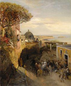 Oswald Achenbach (1827 - 1905)Neapolitanische Straßenszene mit regem Treiben, 1884