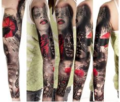 Black and Red Masks tattoo by Zsofia Belteczky