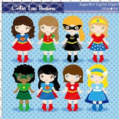 SuperGirls Clipart(S014), Cute Girl Superhero clip art / INSTANT DOWNLOAD on Etsy, US$5.00